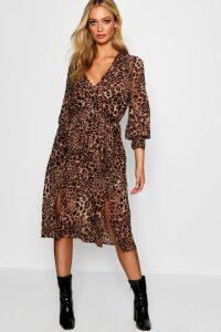 Womens Wrap Front Leopard Print Midi Dress - black - 16, Black