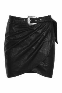 Womens PU Leather Look Western Belt Wrap Mini Skirt - black - 14, Black