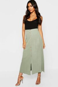 Womens Mock Horn Button Through Midi Skirt - Green - 16, Green