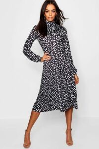 Womens High Neck Long Sleeve Dalmatian Print Midi Dress - black - 16, Black