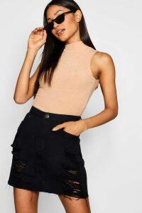 Womens Western Distressed Denim Skirt - Black - 16, Black