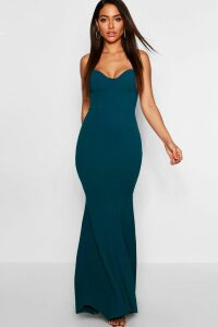 Womens Fitted Fishtail Maxi Bridesmaid Dress - Green - 6, Green