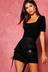 Womens Woven Cargo Utility Pocket Mini Skirt - black - 6, Black