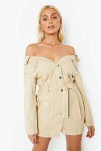 Womens Off The Shoulder Denim Shirt Dress - cream - 14, Cream