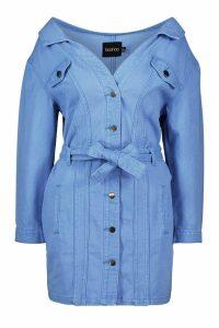 Womens Off The Shoulder Denim Shirt Dress - Blue - 10, Blue