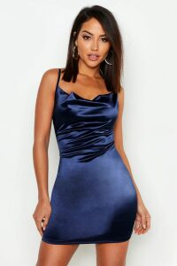 Womens Satin Cowl Front Bodycon Dress - Navy - 8, Navy