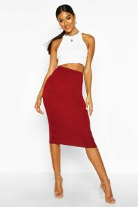 Womens Basic Jersey Midi Skirt - Red - 8, Red