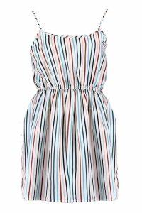 Womens Gillian Stripe Print Strappy Sundress - White - 16, White