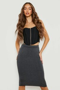 Womens Basic Jersey Midi Skirt - grey - 14, Grey
