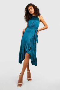 Womens Satin Frill Wrap Midi Dress - Green - 8, Green