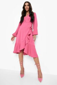 Womens Crepe Ruffle Wrap Midi Skater Dress - Pink - 16, Pink