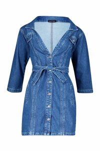 Womens Off The Shoulder Belted Denim Dress - blue - 16, Blue