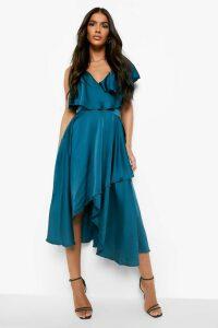 Womens Satin Ruffle Wrap Detail Skater Dress - Green - 16, Green