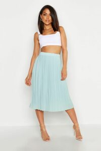 Womens Crepe Pleated Midi Skirt - Green - 14, Green