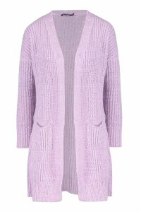 Womens Oversized Boyfriend Cardigan - purple - S/M, Purple