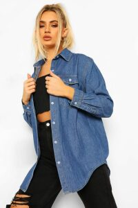 Womens Oversized Denim Shirt - blue - 10, Blue
