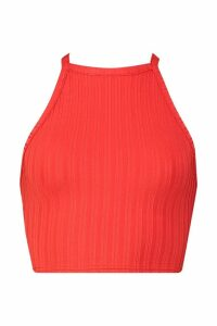 Recycled Rib Racer Back Vest Top - red - 14, Red