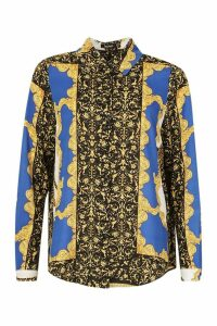 Womens Scarf Printed Oversized Shirt - blue - 8, Blue