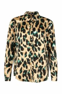 Womens Satin Leopard Shirt - black - 8, Black