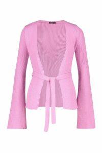Womens Belted Rib Knit Cardigan - cherub pink - M, Cherub Pink