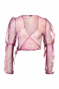 Womens Organza Wrap Front Blouse - pink - L, Pink