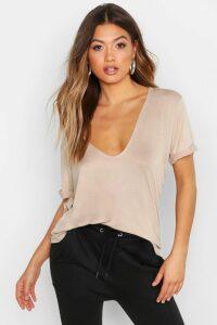 Womens Plunge Front Oversized T-Shirt - Beige - 6, Beige