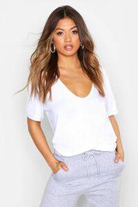 Womens Plunge Front Oversized T-Shirt - White - 14, White