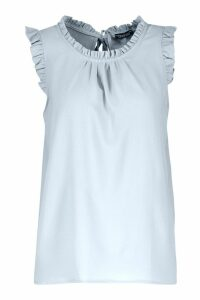 Womens Sleeveless Frill High Neck Blouse - blue - 14, Blue