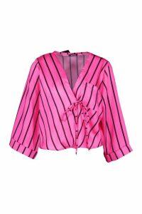 Womens Satin Stripe Wrap Top - Pink - 12, Pink