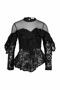 Womens Lace Peplum Mesh Long Sleeve Blouse - black - L, Black