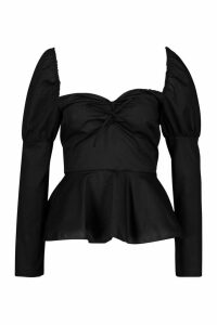 Womens Cotton Puff Sleeve Peplum - black - 12, Black