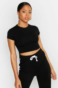 Womens Cropped Capped Sleeve T-Shirt - black - 8, Black