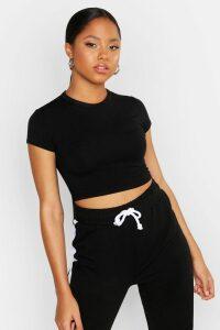 Womens Cropped Capped Sleeve T-Shirt - black - 10, Black