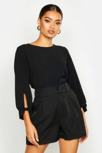 Womens Bow Sleeve Woven Blouse - black - 12, Black