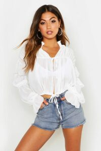 Womens Ruched Tie Front Sheer Top - white - M, White