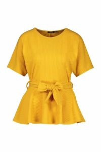 Womens Ribbed Short Sleeve Peplum Top - yellow - 6, Yellow
