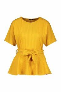 Womens Ribbed Short Sleeve Peplum Top - yellow - 6, Yellow