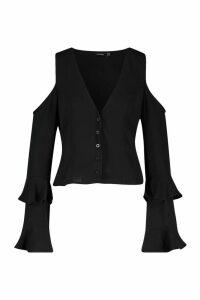 Womens Cold Shoulder Flute Sleeve Blouse - black - 10, Black