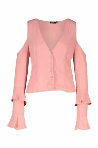 Womens Cold Shoulder Flute Sleeve Blouse - Pink - 10, Pink