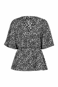Womens Printed Angel Sleeve Peplum Blouse - black - 14, Black