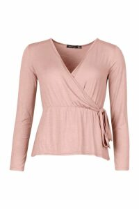 Womens Long Sleeve Wrap Peplum Top - pink - 10, Pink