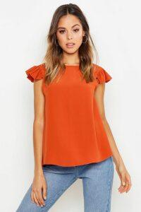 Womens Woven Ruffle Shell Top - orange - 14, Orange