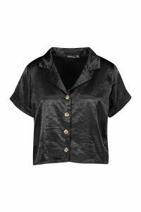 Womens Hammered Satin Horn Button Shirt - black - 6, Black