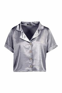 Womens Hammered Satin Horn Button Shirt - Grey - 12, Grey