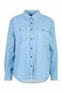 Womens Slim Fit Denim Shirt - blue - 12, Blue