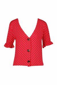 Womens Polka Dot Ruffle Sleeve Top - Red - 16, Red