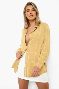 Womens Large Grid Oversized Shirt - Beige - Xl, Beige
