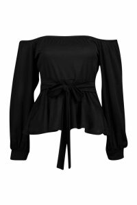 Womens Bardot Tie Peplum Top - black - 8, Black