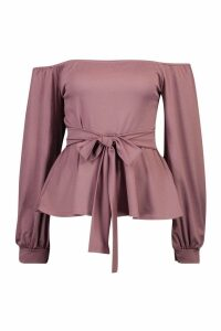 Womens Bardot Tie Peplum Top - purple - 8, Purple