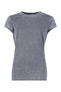 Womens Acid Wash Cap Sleeve T-Shirt - grey - L, Grey